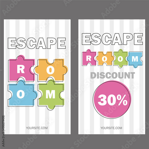 Escape room vector illustration poster banner on white background vector illustration poster banner on white background puzzle colored pieces voucher templates maxwellsz
