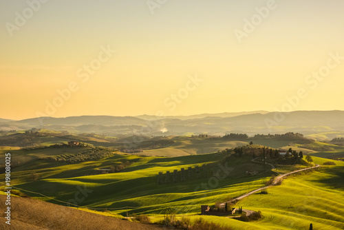 Garden Poster Light pink Landscape of the stunning tuscan countryside in spring