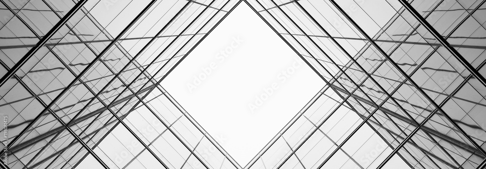 Fototapety, obrazy: architecture of geometry at glass window - monochrome