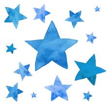 Watercolor Illustration Of Blue Stars Set