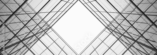 obraz dibond architecture of geometry at glass window - monochrome