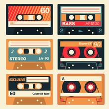 Vintage Cassette Set. Retro Au...