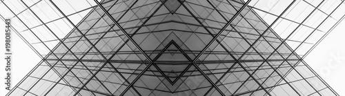 Fototapeta architecture of geometry at glass window - monochrome obraz