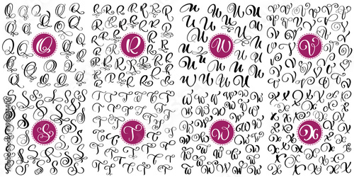 Photo  Set letter Q, R, S, T, U, V, W, X Hand drawn vector flourish calligraphy