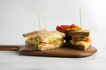 Healthy Egg, Tomato, Lettuce Andshrimp Wholemeal Sandwich