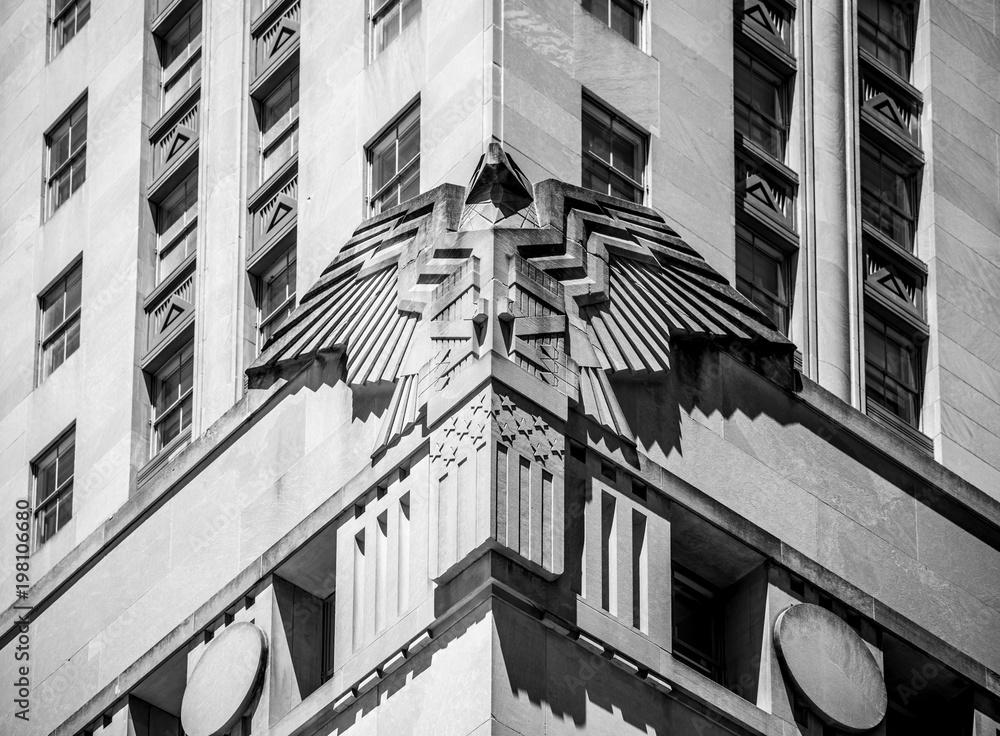 Art deco ornament on office building - Manhattan, New York.