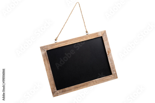 Foto Blank vintage chalkboard with wooden frame and rope for hanging, isolated on whi