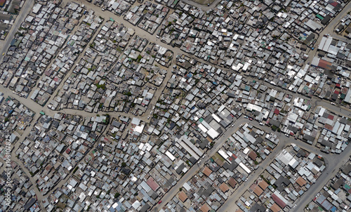 Photo shacks in township in south africa, from directly above