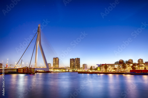 Foto op Canvas Rotterdam Travel Concepts. View of Unique and Beautiful Erasmus Bridge in Rotterdam. Shot During Blue Hour.