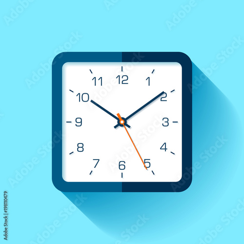 clock icon in flat style with numbers square timer on blue