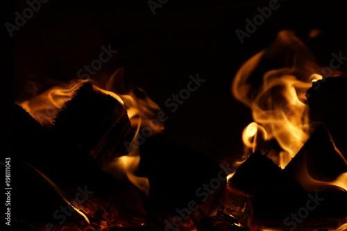 Keuken foto achterwand Vlam fire wood. burning wood. fireplace