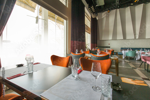 Fototapeta Interior of a new luxury restaurant in the morning obraz na płótnie