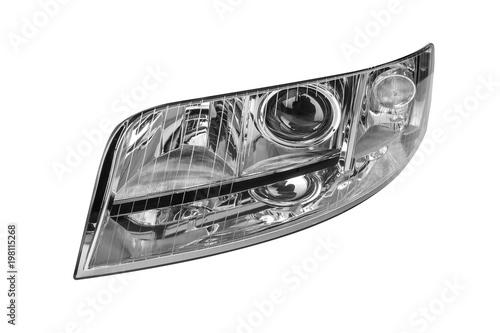 Obraz Car headlight isolated on white background. - fototapety do salonu