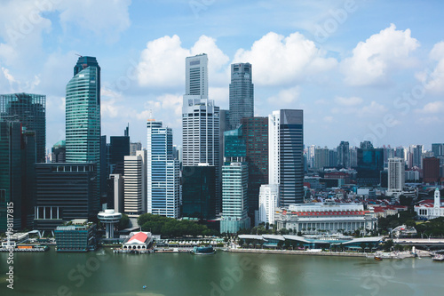 Tuinposter Singapore Beautiful super wide-angle summer aerial view of Singapore, with skyline, bay and scenery beyond the city, seen from the observation deck