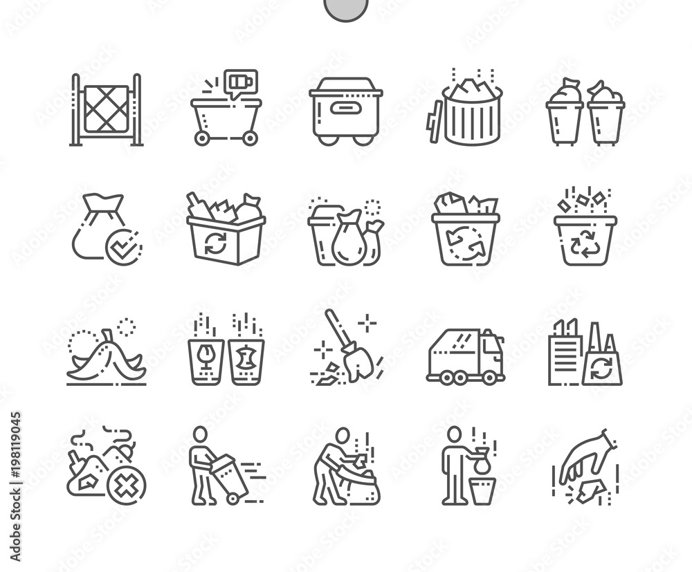 Fototapeta Garbage Well-crafted Pixel Perfect Vector Thin Line Icons 30 2x Grid for Web Graphics and Apps. Simple Minimal Pictogram
