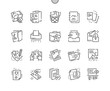 Leinwanddruck Bild - Documents Well-crafted Pixel Perfect Thin Line Icons 30 2x Grid for Web Graphics and Apps. Simple Minimal Pictogram