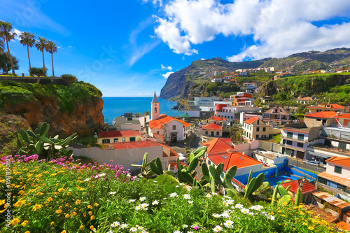 Beautiful panorama over the cityscape of Camara de Lobos in Madeira island, Portugal