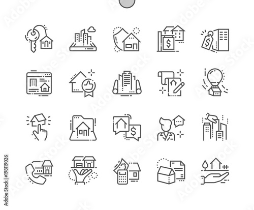 Real Estate Well-crafted Pixel Perfect Thin Line Icons 30 2x Grid for Web Graphics and Apps. Simple Minimal Pictogram