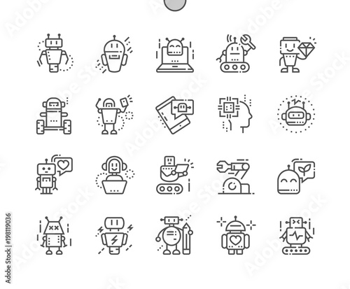 Robots Well-crafted Pixel Perfect Thin Line Icons 30 2x Grid for Web Graphics and Apps. Simple Minimal Pictogram
