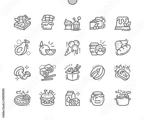Foto op Canvas Restaurant Food Well-crafted Pixel Perfect Vector Thin Line Icons 30 2x Grid for Web Graphics and Apps. Simple Minimal Pictogram