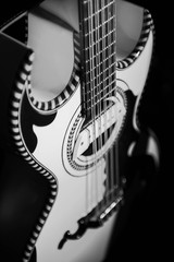black and white photo of guitar