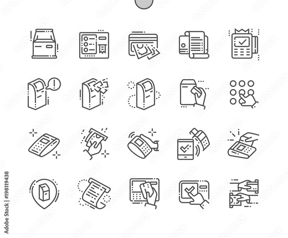 Fototapeta Terminal Well-crafted Pixel Perfect Vector Thin Line Icons 30 2x Grid for Web Graphics and Apps. Simple Minimal Pictogram