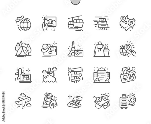 Valokuvatapetti Travelling Well-crafted Pixel Perfect Vector Thin Line Icons 30 2x Grid for Web Graphics and Apps