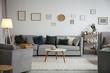 Leinwanddruck Bild - Modern living room interior with comfortable sofa and small table