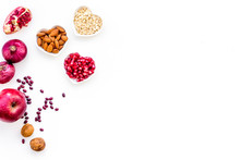 Diet For Healthy Heart. Food With Antioxidants. Vegetables, Fruits, Nuts In Heart Shaped Bowl On White Background Top View Copy Space