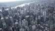 New York City wide angle aerial view of Midtown Manhattan and Times Square office buildings.