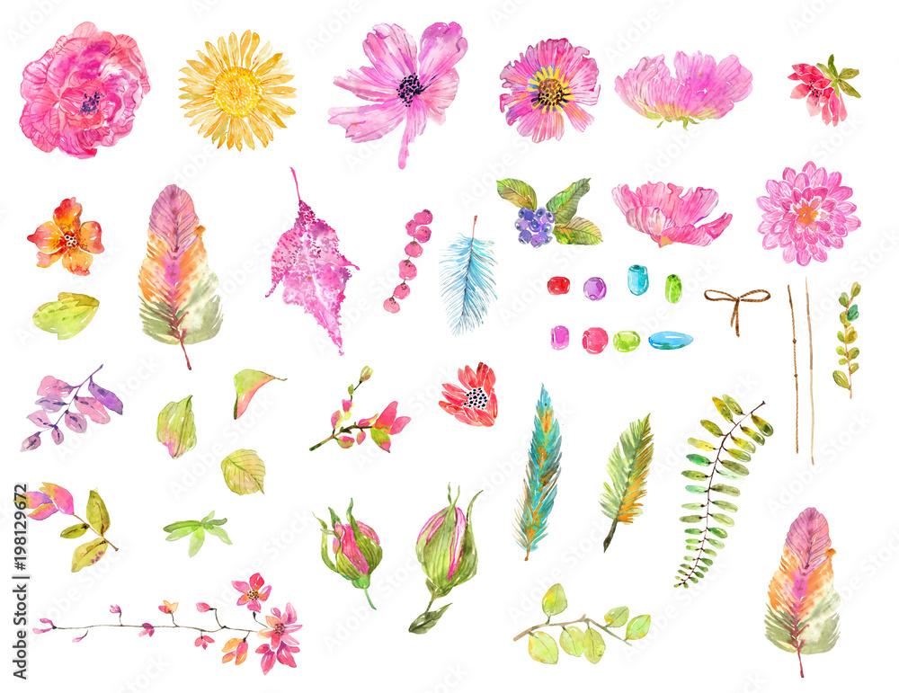 Watercolor beautiful floral design set