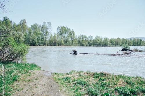 Keuken foto achterwand Lichtblauw Eastern Kazakhstan. Spring on the rivers