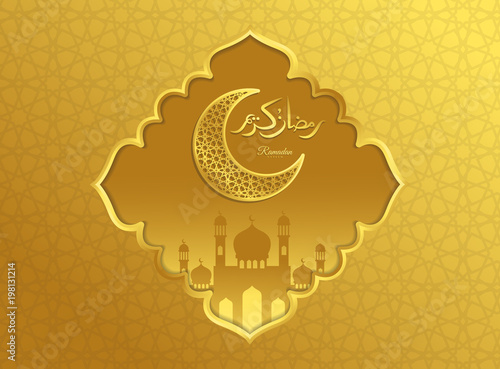 Islamic beautiful design template  Mosque and moon with lanterns on