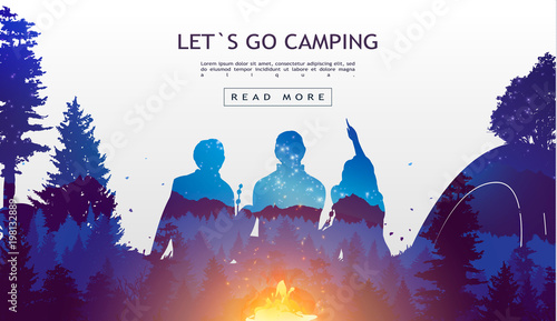 Fotografía People camping, adventure and travel concept, beautiful forest, mountain and sky, double exposure, vector illustration