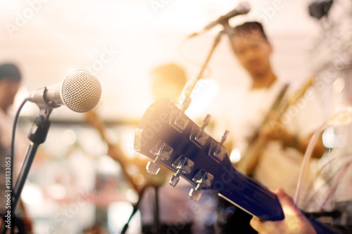 Guitarists on stage for background, soft and blur concept - 198133053