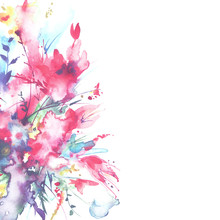 Watercolor Bouquet Of Flowers, Beautiful Abstract Splash Of Paint, Fashion Illustration. Orchid Flowers, Poppy, Cornflower, Red Gladiolus, Peony, Rose, Field Or Garden Flowers. Watercolor Postcard.