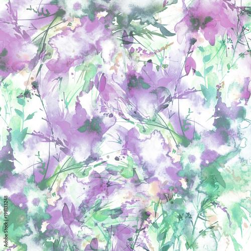 Akwarele karty, chusty, tło z fioletowy kwiatowy wzór, plusk abstrakcyjne farby, modne tło sztuki, ramki. Kwiaty orchidei, mak, tulipan, chaber, mieczyk, piwonia, róża, oddział