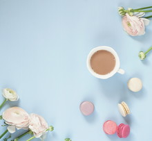 Cup Of Cocoa, Macaroons Cookies Colorful In Pastel Colors And Delicate Pink Ranunculus Flowers On A Pale Blue Background. Top View. Flat Lay. Copy Space