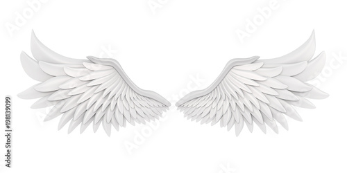 Fényképezés  White Angel Wings Isolated