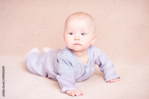 Cute Baby Crawling In Bed Good Morning Buy This Stock Photo And