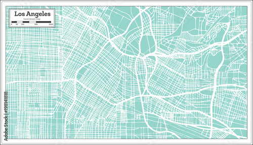 Fotografía Los Angeles California USA City Map in Retro Style. Outline Map.