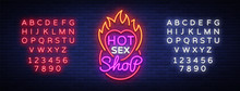 Sex Shop Logo In Neon Style. D...