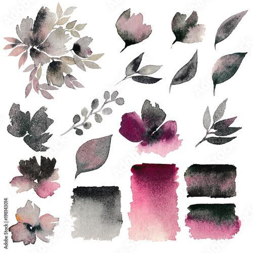 Watercolor Flowers Set Decorative Floral Elements Flowers