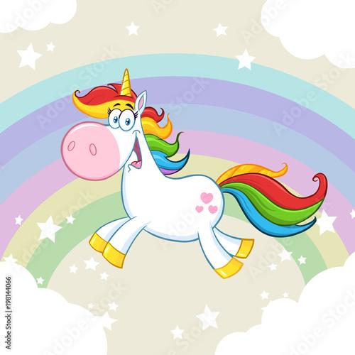 Fotobehang Pony Cute Magic Unicorn Cartoon Mascot Character Running Around Rainbow With Clouds
