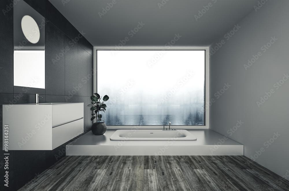 Minimalistisches modernes Badezimmer mit Badewanne Foto, Poster ...