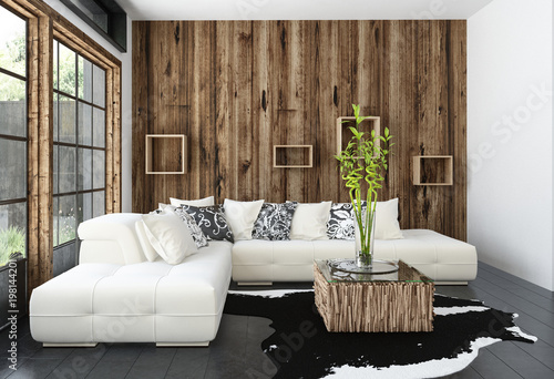 Fotografie, Obraz  Modernes Wohnzimmer mit Couch und hölzerne Wand