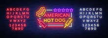 Hot Dog Logo In Neon Style Des...