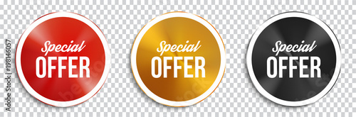 Canvastavla Special offer circle banners on transparent background