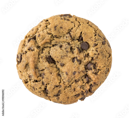 Foto op Aluminium Koekjes Single Homemade Chocolate Cookie Isolated on White Background