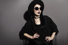 Gothic Caucasian Woman In Dark...